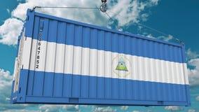 Εμπορευματοκιβώτιο με τη σημαία της Νικαράγουας Η νικαραγουανή εισαγωγή ή η εξαγωγή αφορούσε την εννοιολογική τρισδιάστατη απόδοσ στοκ φωτογραφία με δικαίωμα ελεύθερης χρήσης