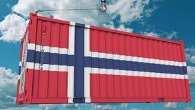 Εμπορευματοκιβώτιο με τη σημαία της Νορβηγίας Η νορβηγική εισαγωγή ή η εξαγωγή αφορούσε την εννοιολογική τρισδιάστατη απόδοση διανυσματική απεικόνιση