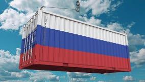Εμπορευματοκιβώτιο με τη σημαία της Ρωσίας Η ρωσική εισαγωγή ή η εξαγωγή αφορούσε την εννοιολογική τρισδιάστατη απόδοση διανυσματική απεικόνιση