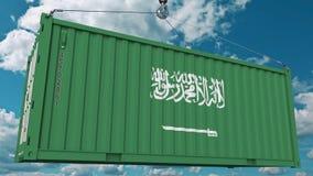 Εμπορευματοκιβώτιο με τη σημαία της Σαουδικής Αραβίας Η εισαγωγή ή η εξαγωγή αφορούσε την εννοιολογική τρισδιάστατη απόδοση ελεύθερη απεικόνιση δικαιώματος