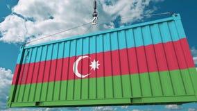 Εμπορευματοκιβώτιο με τη σημαία του Αζερμπαϊτζάν Η του Αζερμπαϊτζάν εισαγωγή ή η εξαγωγή αφορούσε την εννοιολογική τρισδιάστατη α στοκ εικόνα με δικαίωμα ελεύθερης χρήσης