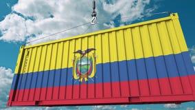 Εμπορευματοκιβώτιο με τη σημαία του Ισημερινού Η του Εκουαδόρ εισαγωγή ή η εξαγωγή αφορούσε την εννοιολογική τρισδιάστατη απόδοση στοκ φωτογραφία με δικαίωμα ελεύθερης χρήσης