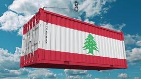Εμπορευματοκιβώτιο με τη σημαία του Λιβάνου Η λιβανέζικη εισαγωγή ή η εξαγωγή αφορούσε την εννοιολογική τρισδιάστατη απόδοση ελεύθερη απεικόνιση δικαιώματος