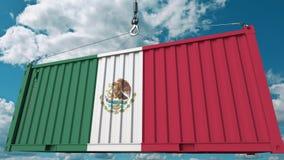 Εμπορευματοκιβώτιο με τη σημαία του Μεξικού Η μεξικάνικη εισαγωγή ή η εξαγωγή αφορούσε την εννοιολογική τρισδιάστατη απόδοση ελεύθερη απεικόνιση δικαιώματος