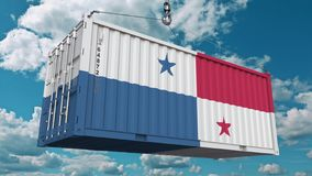 Εμπορευματοκιβώτιο με τη σημαία του Παναμά Η εισαγωγή ή η εξαγωγή Panamian αφορούσε την εννοιολογική τρισδιάστατη απόδοση ελεύθερη απεικόνιση δικαιώματος