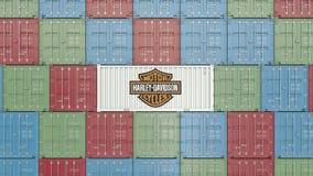 Εμπορευματοκιβώτιο με το εταιρικό λογότυπο της Harley-Davidson Εκδοτική τρισδιάστατη απόδοση διανυσματική απεικόνιση
