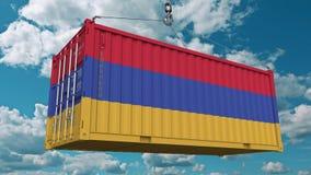 Εμπορευματοκιβώτιο φορτίου με τη σημαία της Αρμενίας Η αρμενική εισαγωγή ή η εξαγωγή αφορούσε την εννοιολογική τρισδιάστατη απόδο στοκ φωτογραφία με δικαίωμα ελεύθερης χρήσης
