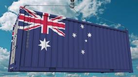Εμπορευματοκιβώτιο φορτίου με τη σημαία της Αυστραλίας Η αυστραλιανή εισαγωγή ή η εξαγωγή αφορούσε την εννοιολογική τρισδιάστατη  διανυσματική απεικόνιση