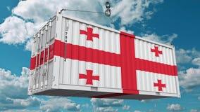 Εμπορευματοκιβώτιο φορτίου με τη σημαία της Γεωργίας Η της Γεωργίας εισαγωγή ή η εξαγωγή αφορούσε την εννοιολογική τρισδιάστατη α ελεύθερη απεικόνιση δικαιώματος