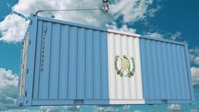 Εμπορευματοκιβώτιο φορτίου με τη σημαία της Γουατεμάλα Η της Γουατεμάλας εισαγωγή ή η εξαγωγή αφορούσε την εννοιολογική τρισδιάστ απεικόνιση αποθεμάτων