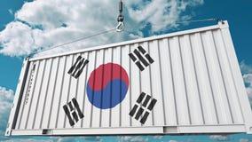 Εμπορευματοκιβώτιο φορτίου με τη σημαία της Νότιας Κορέας Η κορεατική εισαγωγή ή η εξαγωγή αφορούσε την εννοιολογική τρισδιάστατη ελεύθερη απεικόνιση δικαιώματος