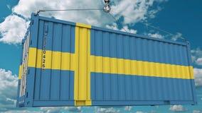Εμπορευματοκιβώτιο φορτίου με τη σημαία της Σουηδίας Η σουηδική εισαγωγή ή η εξαγωγή αφορούσε την εννοιολογική τρισδιάστατη απόδο στοκ εικόνα με δικαίωμα ελεύθερης χρήσης