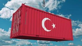 Εμπορευματοκιβώτιο φορτίου με τη σημαία της Τουρκίας Η τουρκική εισαγωγή ή η εξαγωγή αφορούσε την εννοιολογική τρισδιάστατη απόδο στοκ φωτογραφίες