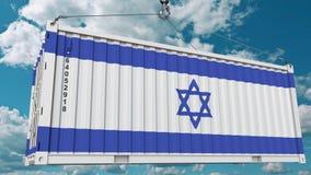 Εμπορευματοκιβώτιο φορτίου με τη σημαία του Ισραήλ Η ισραηλινή εισαγωγή ή η εξαγωγή αφορούσε την εννοιολογική τρισδιάστατη απόδοσ απεικόνιση αποθεμάτων