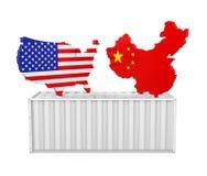 Εμπορευματοκιβώτιο φορτίου το χάρτη των Ηνωμένων Πολιτειών και της Κίνας που απομονώνεται με Έννοια εμπορικών πολέμων ελεύθερη απεικόνιση δικαιώματος