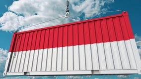 Εμπορευματοκιβώτιο φορτίου φόρτωσης με τη σημαία της Ινδονησίας Η ινδονησιακή εισαγωγή ή η εξαγωγή αφορούσε την εννοιολογική τρισ ελεύθερη απεικόνιση δικαιώματος