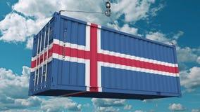 Εμπορευματοκιβώτιο φορτίου φόρτωσης με τη σημαία της Ισλανδίας Η ισλανδική εισαγωγή ή η εξαγωγή αφορούσε την εννοιολογική τρισδιά απεικόνιση αποθεμάτων