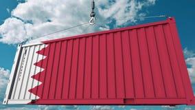 Εμπορευματοκιβώτιο φορτίου φόρτωσης με τη σημαία του Μπαχρέιν Η του Μπαχρέιν εισαγωγή ή η εξαγωγή αφορούσε την εννοιολογική τρισδ απεικόνιση αποθεμάτων