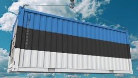 Εμπορευματοκιβώτιο φόρτωσης με τη σημαία της Εσθονίας Η εσθονική εισαγωγή ή η εξαγωγή αφορούσε την εννοιολογική τρισδιάστατη απόδ στοκ εικόνα