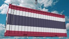 Εμπορευματοκιβώτιο φόρτωσης με τη σημαία της Ταϊλάνδης Η ταϊλανδική εισαγωγή ή η εξαγωγή αφορούσε την εννοιολογική τρισδιάστατη α στοκ φωτογραφίες με δικαίωμα ελεύθερης χρήσης