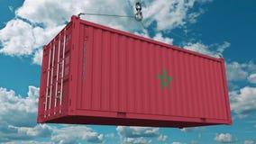 Εμπορευματοκιβώτιο φόρτωσης με τη σημαία του Μαρόκου Η μαροκινή εισαγωγή ή η εξαγωγή αφορούσε την εννοιολογική τρισδιάστατη απόδο διανυσματική απεικόνιση