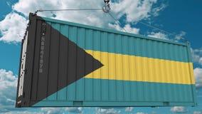 Εμπορευματοκιβώτιο φόρτωσης με τη σημαία των Μπαχαμών Η των Μπαχάμας εισαγωγή ή η εξαγωγή αφορούσε την εννοιολογική τρισδιάστατη  στοκ φωτογραφίες