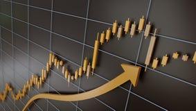 Εμπορικά διάγραμμα και κηροπήγιο της χρυσής, τρισδιάστατης απεικόνισης διανυσματική απεικόνιση