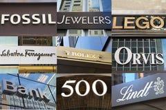 Εμπορικά σήματα των καταστημάτων πολυτέλειας στη Πέμπτη Λεωφόρος Στοκ Εικόνες