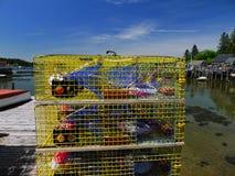 Εμπορικές παγίδες αστακών έτοιμες να εργαστούν Στοκ εικόνες με δικαίωμα ελεύθερης χρήσης