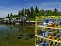 Εμπορικές παγίδες αστακών έτοιμες να εργαστούν Στοκ Εικόνα