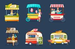 Εμπορικές συναλλαγές οδών αντικειμένων Προμηθευτές πίσω από τους μετρητές με τα ποτά, τρόφιμα, γλυκά διανυσματική απεικόνιση
