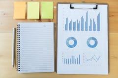 εμπορική έκθεση γραφικών παραστάσεων και διαγραμμάτων με το μολύβι, σημειωματάριο, κολλώδες ν Στοκ εικόνες με δικαίωμα ελεύθερης χρήσης