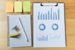 εμπορική έκθεση γραφικών παραστάσεων και διαγραμμάτων με το μολύβι, σημειωματάριο, κολλώδες ν Στοκ Εικόνες