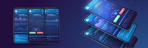 Εμπορική ανταλλαγή app στην τηλεφωνική οθόνη Κινητό τραπεζικό cryptocurrency UI UX Σε απευθείας σύνδεση διεπαφή εμπορικών συναλλα ελεύθερη απεικόνιση δικαιώματος