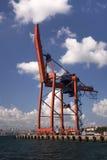 Εμπορική αποβάθρα Haydarpasa και κόκκινος γερανός εμπορευματοκιβωτίων Στοκ Εικόνα