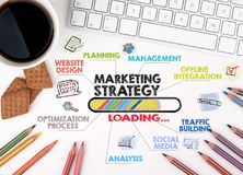 Εμπορική στρατηγική, επιχειρησιακή έννοια Διάγραμμα με τις λέξεις κλειδιά και τα εικονίδια λευκό Ιστού γραφείων γραφείων επιχειρη Στοκ εικόνα με δικαίωμα ελεύθερης χρήσης