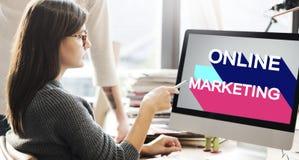 Εμπορική ψηφιακή έννοια μαρκαρίσματος on-line μάρκετινγκ Στοκ Εικόνες
