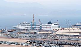 Εμπορικός θαλάσσιος λιμένας φορτίου στη Ερυθρά Θάλασσα, Ισραήλ στοκ εικόνες
