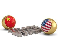 Εμπορικός πόλεμος λέξης την κινεζική σημαία των Ηνωμένων Πολιτειών και που απομονώνεται με στο W απεικόνιση αποθεμάτων