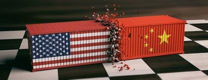 Εμπορικός πόλεμος των ΗΠΑ και της Κίνας ΗΠΑ των κινεζικών συντριφθε'ντων σημαίες εμπορευματοκιβωτίων της Αμερικής και στη σκακιέρ ελεύθερη απεικόνιση δικαιώματος