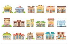 Εμπορικό σύνολο σχεδίου κτηρίων εξωτερικό αυτοκόλλητων ετικεττών ελεύθερη απεικόνιση δικαιώματος