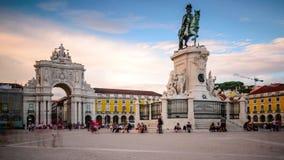 Εμπορικό τετράγωνο στη Λισσαβώνα, Πορτογαλία απόθεμα βίντεο