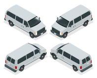 Εμπορικό van icons σύνολο που απομονώνεται σε ένα άσπρο υπόβαθρο Επίπεδη τρισδιάστατη isometric απεικόνιση Για το infographics κα Στοκ φωτογραφία με δικαίωμα ελεύθερης χρήσης