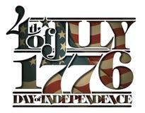 Εμπρός του Ιουλίου του 1776 Doay της ανεξαρτησίας που αποκόπτει Στοκ Εικόνες