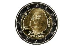 Εμπρόσθια 2 ευρο- νομίσματα με την εικόνα του γνωστού φινλανδικού Au Στοκ Εικόνες