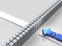Εμπόδια στη σειρά μαθημάτων Ένα βέλος αντιπροσωπεύει τη στασιμότητα διανυσματική απεικόνιση