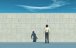 Εμπόδιο τοίχων Άτομο που ανατρέχει στο μεγάλο τοίχο ελεύθερη απεικόνιση δικαιώματος