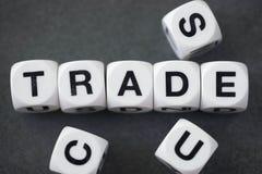 Εμπόριο λέξης στους κύβους παιχνιδιών Στοκ εικόνα με δικαίωμα ελεύθερης χρήσης