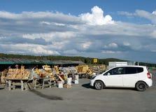 Εμπόριο στα αγαθά και τα αναμνηστικά βιοτεχνίας στο πέρασμα Seminsky, Δημοκρατία Altai, δυτική Σιβηρία στοκ εικόνα με δικαίωμα ελεύθερης χρήσης