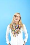 ενάντια στις μπλε νεολαίες γυναικών ανασκόπησης Στοκ Εικόνες